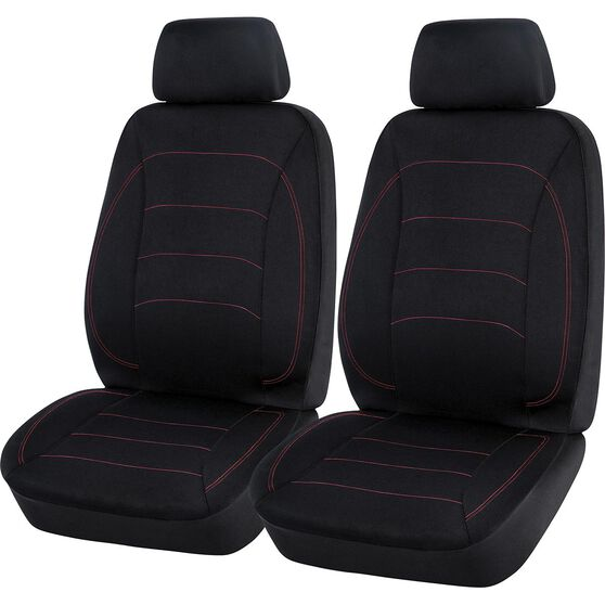 SCA Neoprene Seat Covers - Black and Red, Adjustable Headrests, Airbag Compatible, , scanz_hi-res