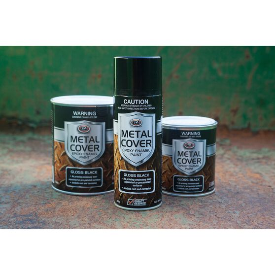 Metal Cover Rust Paint - Enamel, Gloss Black, 500mL, , scanz_hi-res