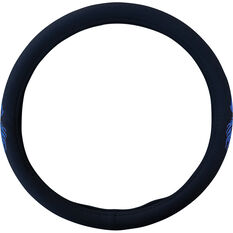 SCA Dragon Steering Wheel Cover - Twill Polyester, Black / Blue, 380mm diameter, , scanz_hi-res