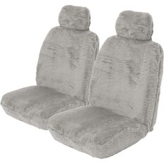 Comfort Fur Seat Covers - Grey, Adjustable Headrests, Size 30, Front Pair, Airbag Compatible, , scanz_hi-res
