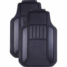 Carbon Fibre Car Floor Mats - Rubber, Black & Charcoal, Front Pair, Universal Fit, , scanz_hi-res
