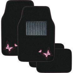 Butterfly Car Floor Mats - Carpet, Pink, Set of 4, , scanz_hi-res