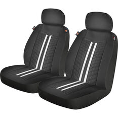 Dickies Espirit Leather Look Seat Covers Black/White Adjustable Headrest Airbag Compatible, , scanz_hi-res