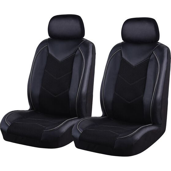 SCA Sports Leather Look and Mesh Seat Covers - Black and Grey, Adjustable Headrests, Airbag Compatible, , scanz_hi-res
