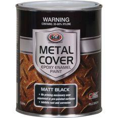 SCA Metal Cover Rust Paint - Enamel, Matt Black, 1 Litre, , scanz_hi-res