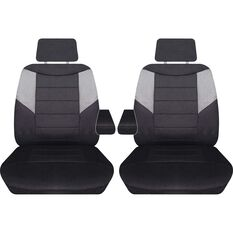 Carbon Mesh Seat Covers - Black and Grey Adjustable Headrests Size 107 Front Pair with Armrests Airbag Compatible, , scanz_hi-res