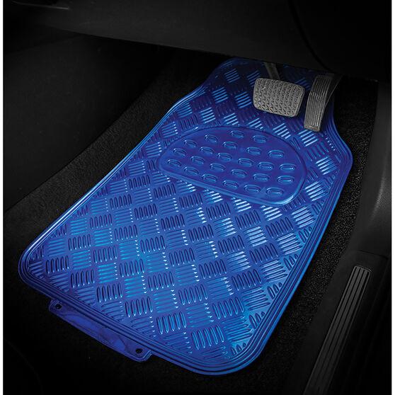 SCA Checkerplate Car Floor Mats PVC Blue Set of 4, , scanz_hi-res
