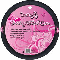 Butterfly Steering Wheel Cover - Mesh, Pink, 380mm diameter, , scanz_hi-res
