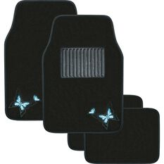 Butterfly Car Floor Mats - Carpet, Blue, Set of 4, , scanz_hi-res