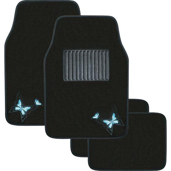 Butterfly Car Floor Mats - Carpet, Blue, Set of 4, , scanz_hi-res