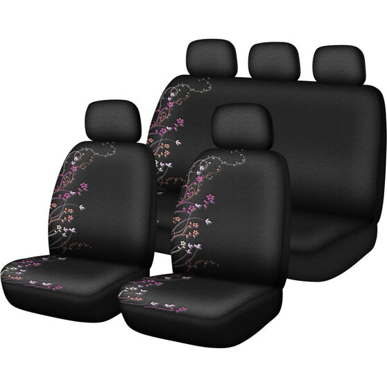 SCA Blossom Seat Cover Pack - Purple and Orange, Adjustable Headrests, Size 30 and 06H, Airbag Compatible, , scanz_hi-res