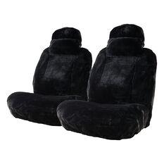 Platinum Cloud Sheepskin Seat Covers - Black Adjustable Headrests Size 30 Front Pair Airbag Compatible Black, Black, scanz_hi-res
