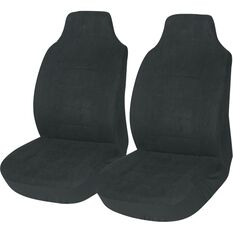 Suede Velour Seat Covers - Black Built-in Headrests Size 60 Front Pair Airbag Compatible, , scanz_hi-res