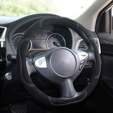 SCA Steering Wheel Cover - Contour Stitch, Black, 380mm diameter, , scanz_hi-res