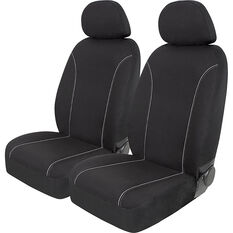 SCA Canvas Seat Covers - Black/Grey Adjustable Headrests Size 30 Front Pair Airbag Compatible, , scanz_hi-res