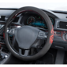 SCA Steering Wheel Cover - Dragon Twill Polyester, Black/Red, 380mm diameter, , scanz_hi-res