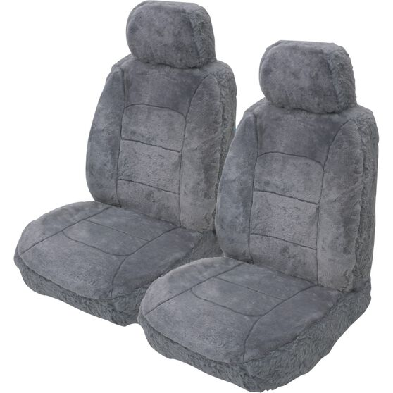 Silver Cloud Sheepskin Seat Covers - Grey, Adjustable Headrests, Size 30, Front Pair, Airbag Compatible Grey, Grey, scanz_hi-res