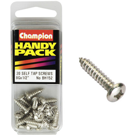 Champion Self Tapping Screws - 8G X 1 / 2inch, BH152, Handy Pack, , scanz_hi-res