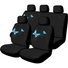 Butterfly Seat Cover Pack - Blue, Adjustable Headrests, Size 30 and 06H, Front and Rear, Airbag Compatible, , scanz_hi-res