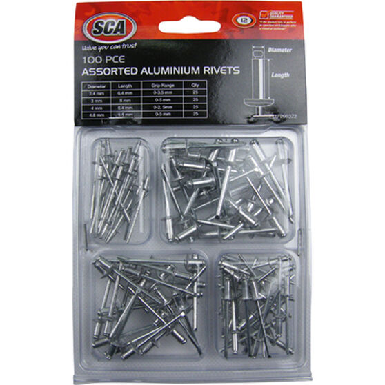 SCA Aluminium Rivets - Assorted, 100 Piece, , scanz_hi-res
