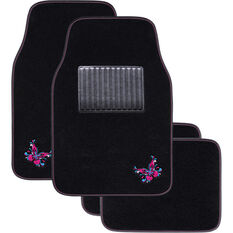 SCA Butterfly Floor Mats Carpet Black/Pink/Blue Set of 4, , scanz_hi-res