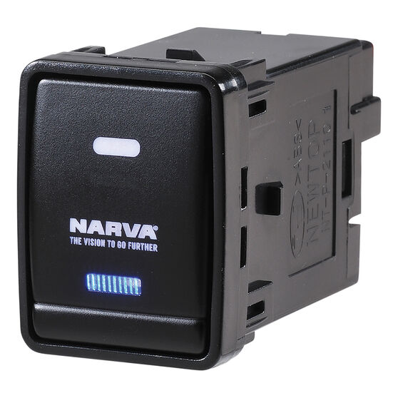 Narva OE Style Switch - Suits Nissan Pathfinder R52, Navara NP300, X-Trail T32 Series, Blank Push On/Off, Blue LED, 63384BL, , scanz_hi-res