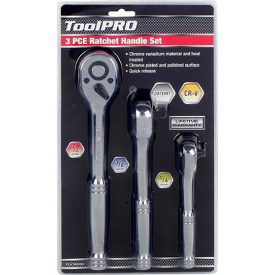 ToolPRO Ratchet Handle Set - 1 / 4 inch  /  3 / 8 inch  /  1 / 2 inch, 3 Piece, , scanz_hi-res