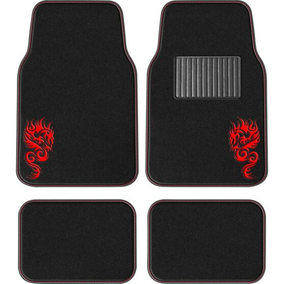 SCA Dragon Floor Mats - Carpet, Black / Red, Set of 4, , scanz_hi-res