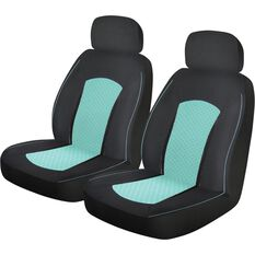 Metallic Print Seat Covers - Mint Green and Black, Adjustable Headrests, , scanz_hi-res