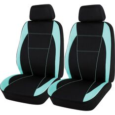 Neoprene Seat Covers - Black & Mint, Adjustable Headrests, , scanz_hi-res