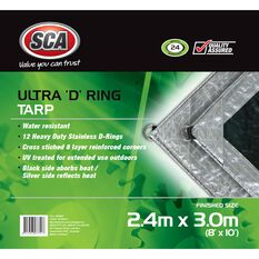 SCA Ultra D-Ring Poly Tarp - 2.4m X 3.0m (8 X 10), 205GSM, Silver, , scanz_hi-res