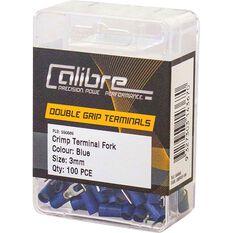Crimp Terminal Fork Blue 3mm 100Pk, , scanz_hi-res
