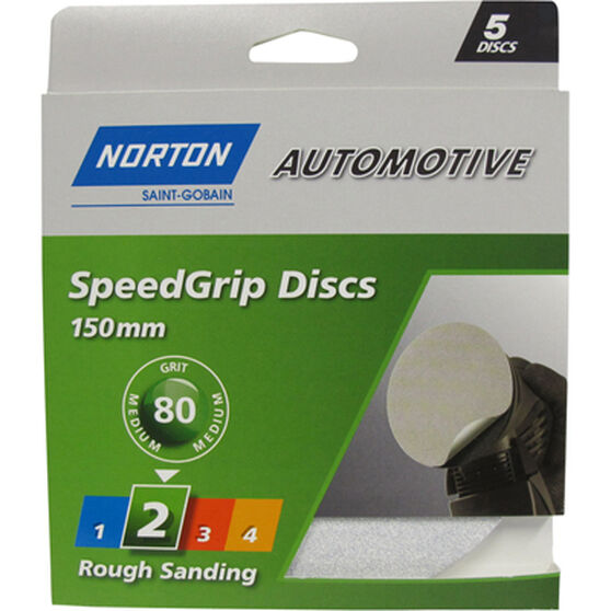 Norton S / Grip Disc - 80 Grit, 150mm, 5 Pack, , scanz_hi-res