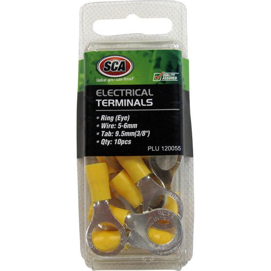 SCA Electrical Terminals - Ring (Eye), Yellow, 9.5mm, 10 Pack, , scanz_hi-res