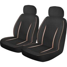Metallic Print Seat Covers - Rose Gold & Black, Adjustable Headrests, , scanz_hi-res