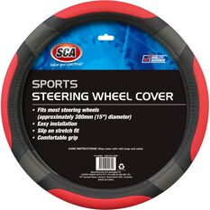 Steering Wheel Cover - Sports, Red, 380mm diameter, , scanz_hi-res