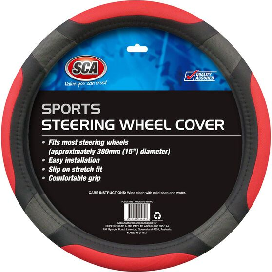 SCA Steering Wheel Cover - Sports, Red, 380mm diameter, , scanz_hi-res