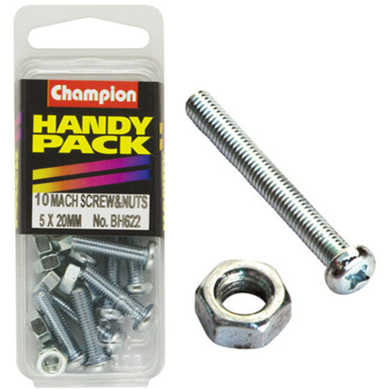 Champion Machined Screws / Nuts - 5mm X 20mm, BH622, Handy Pack, , scanz_hi-res