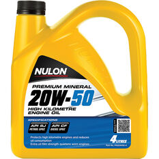 Nulon Premium Mineral High Kilometre Engine Oil 20W-50 4 Litre, , scanz_hi-res