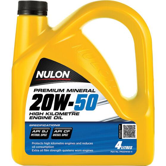 Nulon Premium Mineral High Kilometre Engine Oil 20W-50 4 Litre, , scanz_hi-res