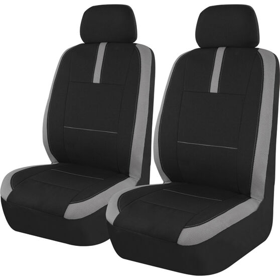 SCA Mesh Seat Covers - Black and Grey, Adjustable Headrests, Size 30, Front Pair, Airbag Compatible, , scanz_hi-res