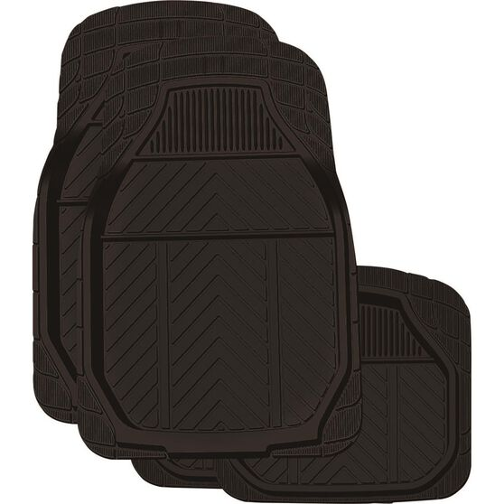 Ridge Ryder Deep Dish Car Floor Mats - Rubber, Black, Set of 4, , scanz_hi-res