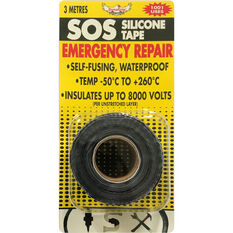 DynaGrip SOS Silicone Tape - Black, 3m x 25mm, , scanz_hi-res