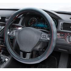 SCA Steering Wheel Cover - PU Racing, Black/Red, 380mm diameter, , scanz_hi-res