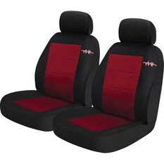 Cord Seat Covers - Red, Adjustable Headrests, Size 30, Front Pair, Airbag Compatible, , scanz_hi-res