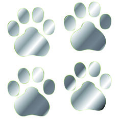 Hot Stuff Sticker - Paw Prints, Chrome, , scanz_hi-res