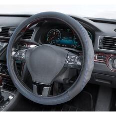 SCA Steering Wheel Cover - PU Racing, Black/Blue, 380mm diameter, , scanz_hi-res