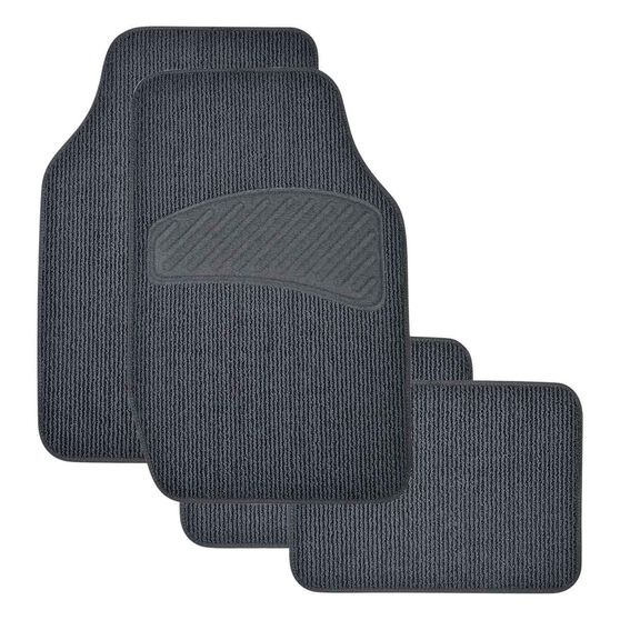SCA Loop Pile Floor Mats - Carpet, Charcoal, Set of 4, , scanz_hi-res
