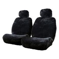 Silver Cloud Sheepskin Seat Covers - Black Adjustable Headrests Size 30 Front Pair Airbag Compatible Black, Black, scanz_hi-res