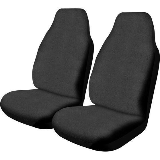 Canvas Seat Covers - Black, Built-in Headrests, Size 60, Front Pair, Airbag Compatible, , scanz_hi-res